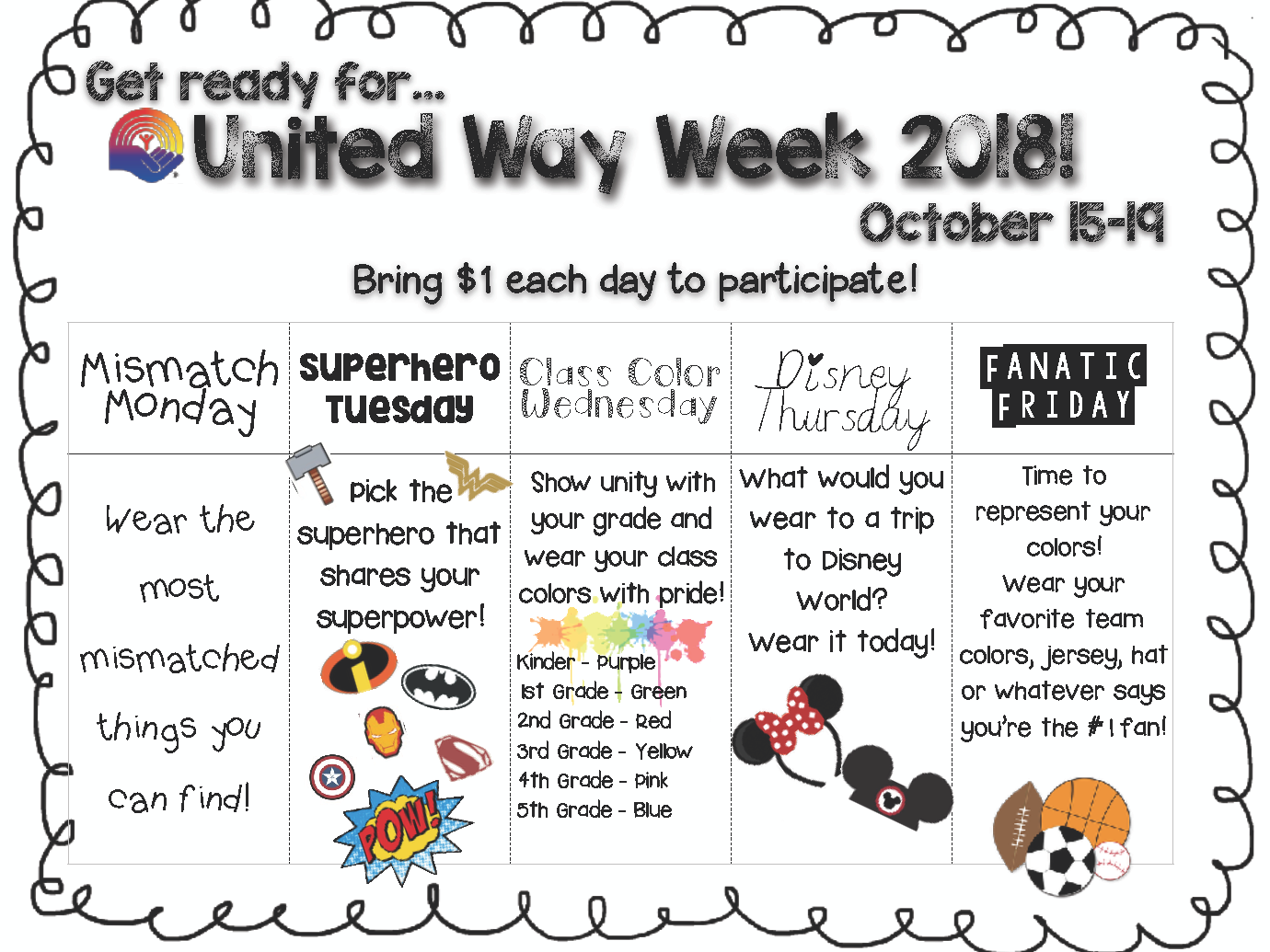 United Way Week @ Click to view activities for each day