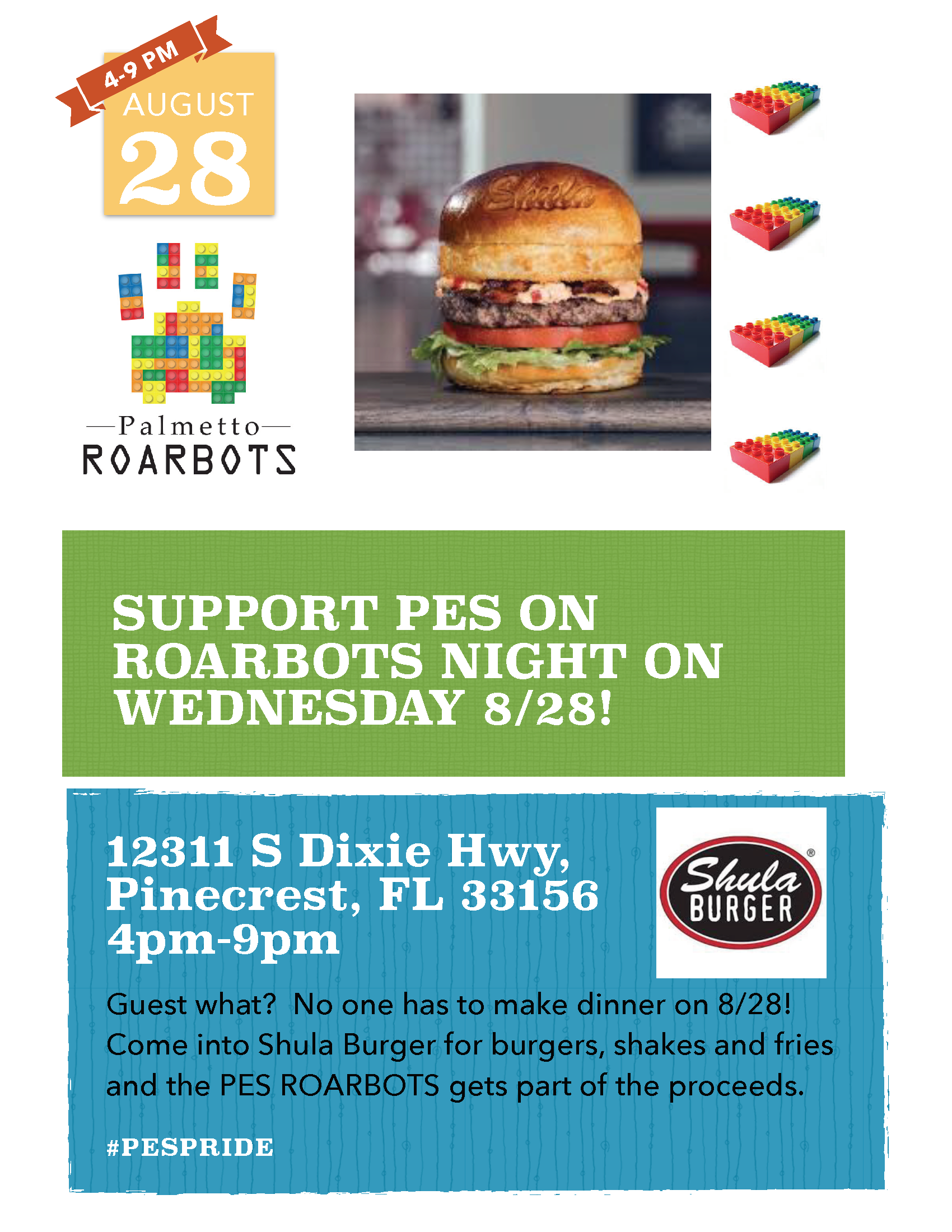 Support PES on Roarbots Night @ Shula Burger | Pinecrest | Florida | United States